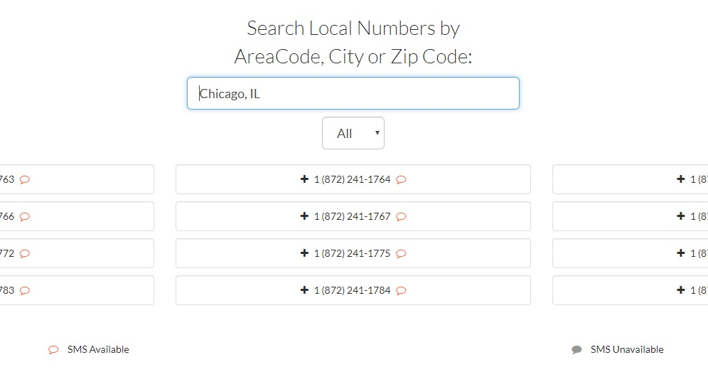 Local phone number results