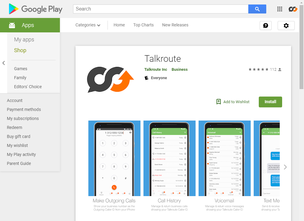 Google Play Talkroute App